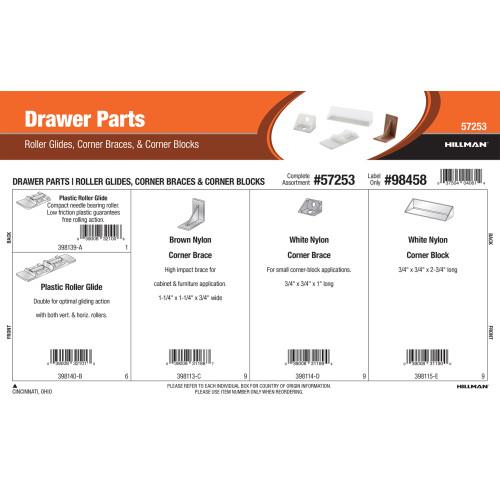 Drawer Parts Assortment (Roller Glides, Corner Braces, & Corner Blocks)