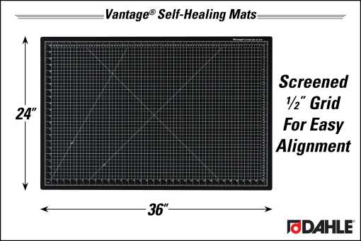 "Dahle Vantage® 24"" x 36"" Self-Healing Cutting Mat, Black - InfoGraphic"