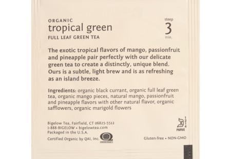 steep cafe by Bigelow organic full leaf tropical green tea pyramid bag in overwrap - Ingredient list