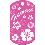 Pink Hawaiian Flowers Large Military ID Quick-Tag