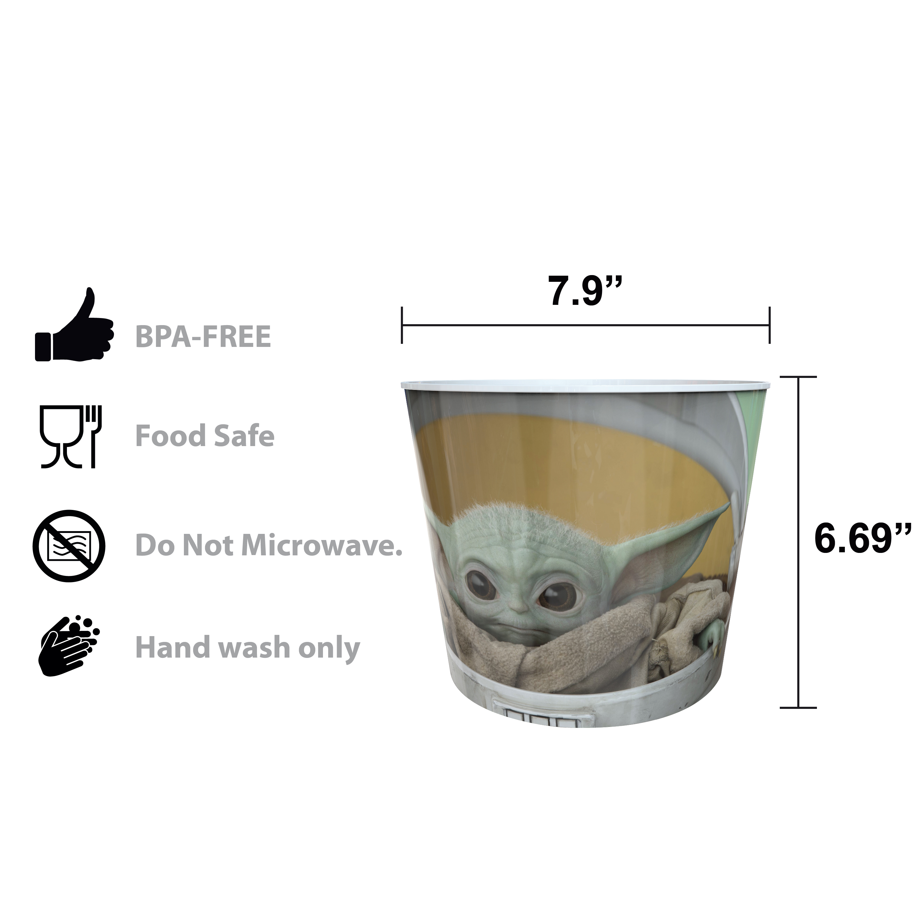 Star Wars: The Mandalorian Plastic Popcorn Container and Bowls, The Child (Baby Yoda), 5-piece set slideshow image 9