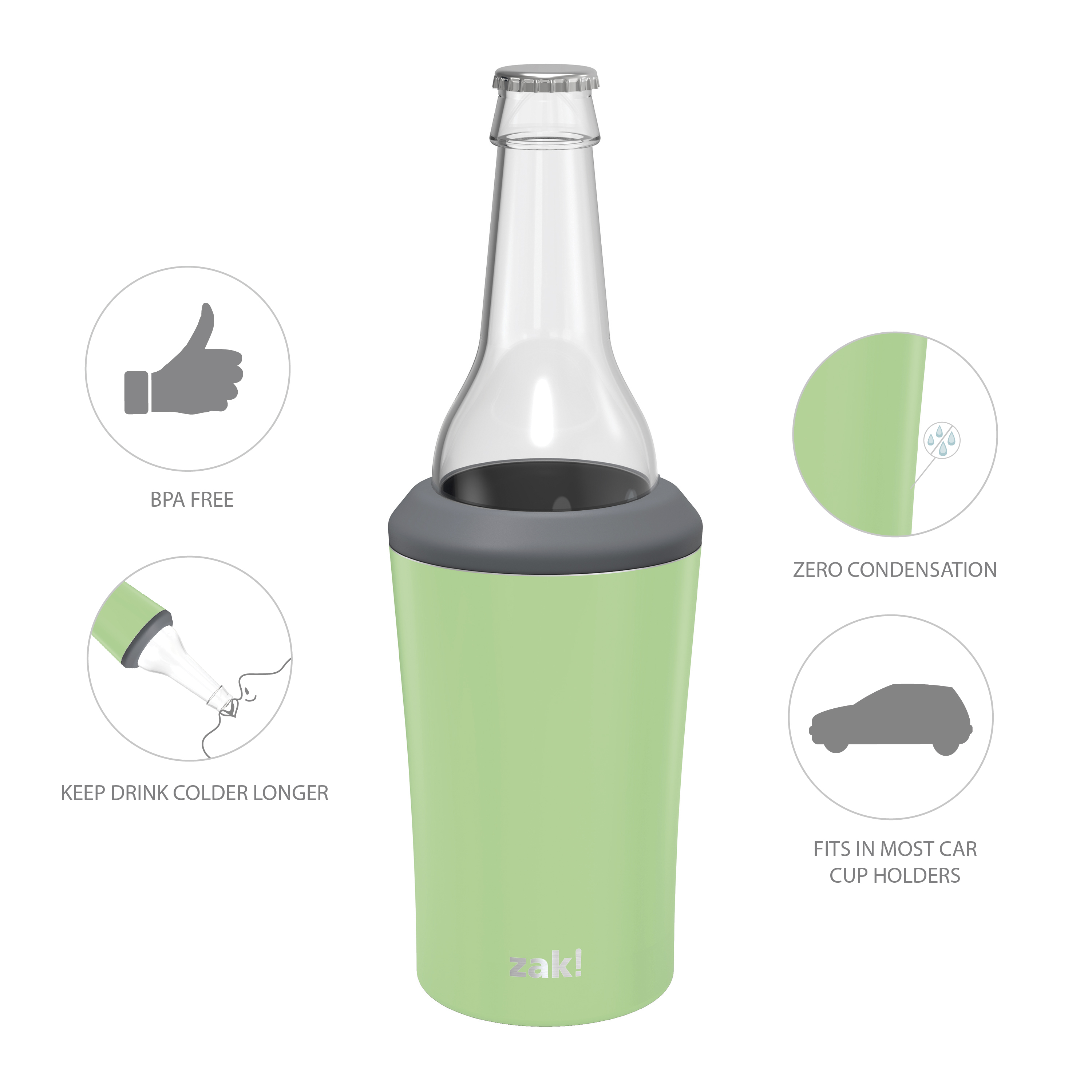 Zak Hydration 12 ounce Double Wall Stainless Steel Can and Bottle Cooler with Vacuum Insulation, Pistachio slideshow image 7