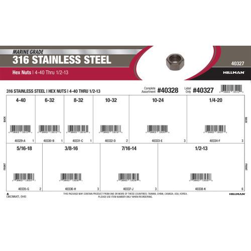 Marine-Grade #316 Stainless Steel Hex Nuts Assortment (#4-40 thru 1/2
