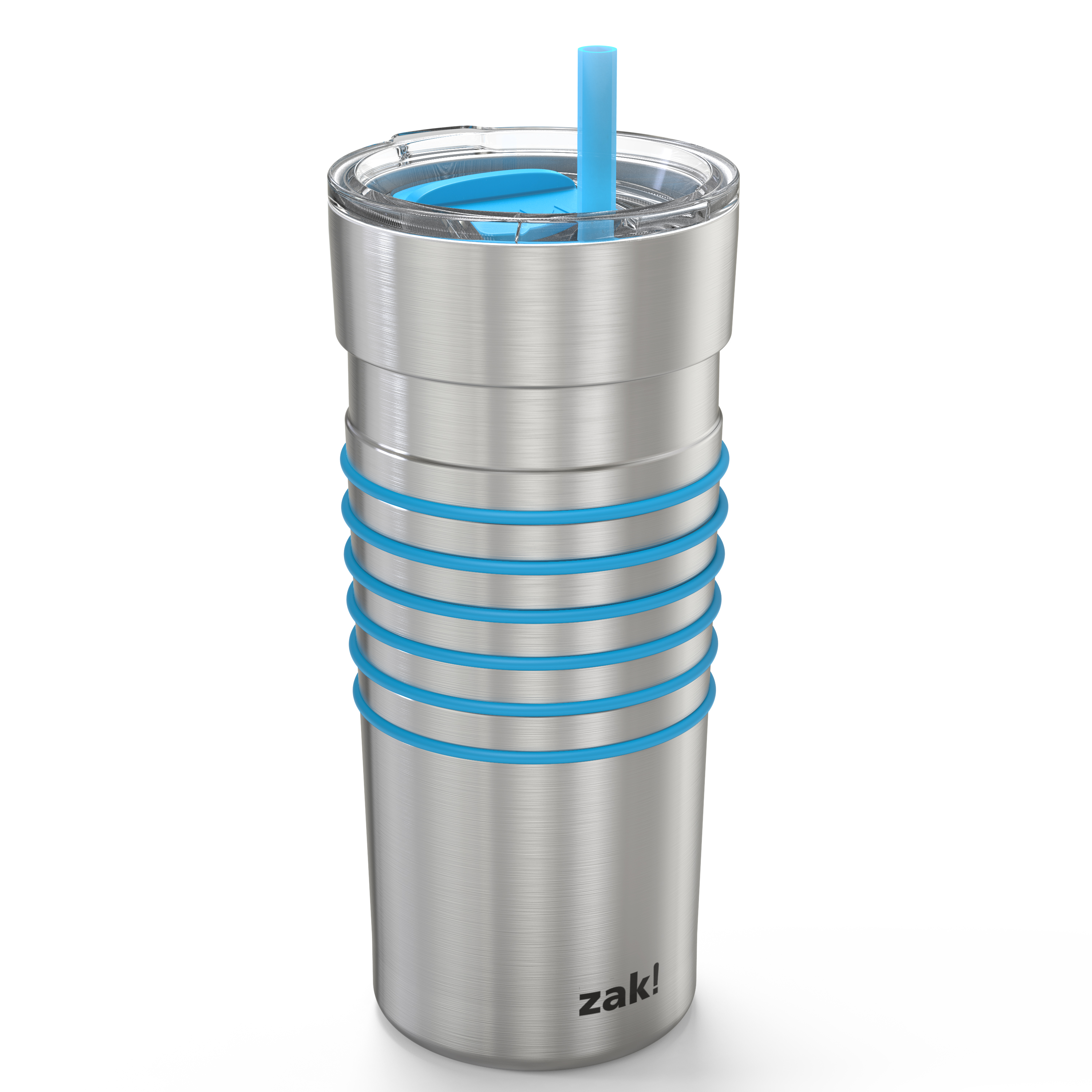 HydraTrak 20 ounce Vacuum Insulated Stainless Steel Tumbler, Stainless Steel with Blue Rings slideshow image 1