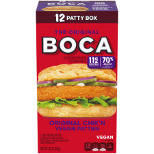 BOCA Original Chik'n Veggie Patties Value Size, 30 oz Box (12 Patties)