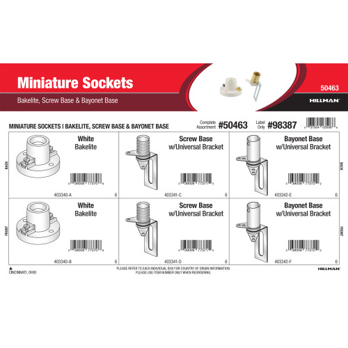 Miniature Sockets Assortment (Screw Base & Bayonet Base)