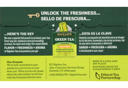 Back of Green Tea Decaffeinated Tea box bilingual packaging