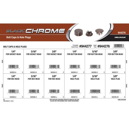 Black Chrome Bolt Caps & Hole Plugs Assortment