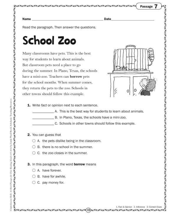 Prehension Skills Short Passages For Close Reading