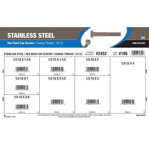 Stainless Steel Hex Cap Screws Assortment (1/2