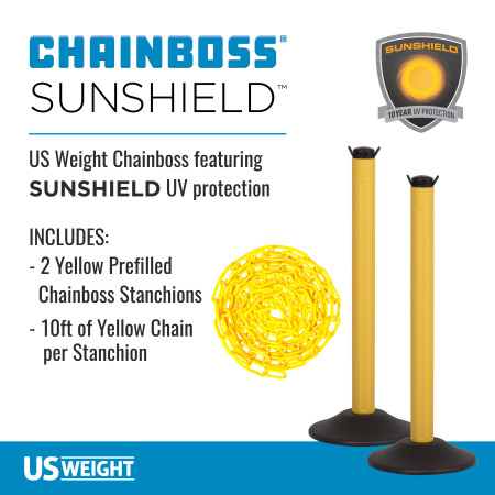 ChainBoss Stanchion - Yellow Filled with Yellow Chain 2