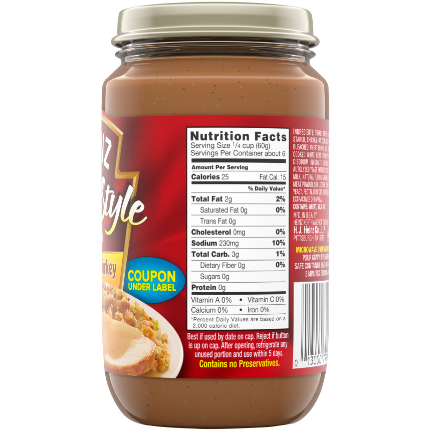 Heinz Home-Style Roasted Turkey Gravy, 12 oz Jar