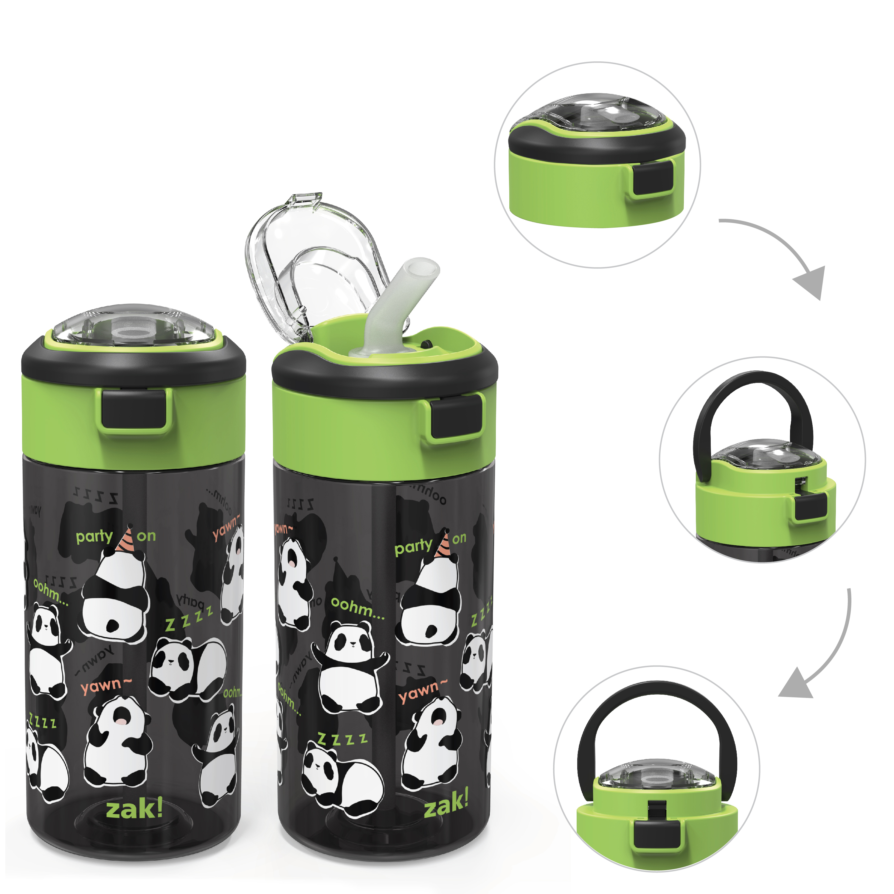 Genesis 18 ounce Water Bottles, Panda, 2-piece set image