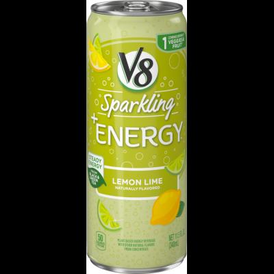 V8 Sparkling +Energy™,Lemon Lime, 11.5 Ounce Can (Pack of 4)