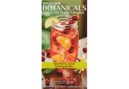 Side panel of Bigelow Botanicals Cranberry Lime Honeysuckle Hibiscus Cold Water Infusion Box