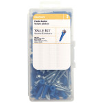 Blue Conical Plastic Anchor Kits #6-8 HWH Slotted