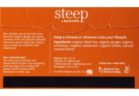 Back of steep by bigelow organic chai tea box