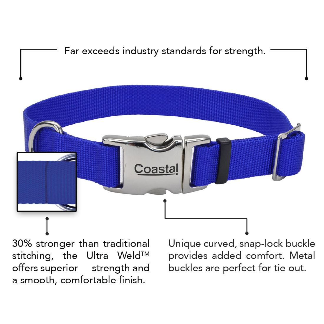 Coastal® Adjustable Dog Collar with Metal Buckle