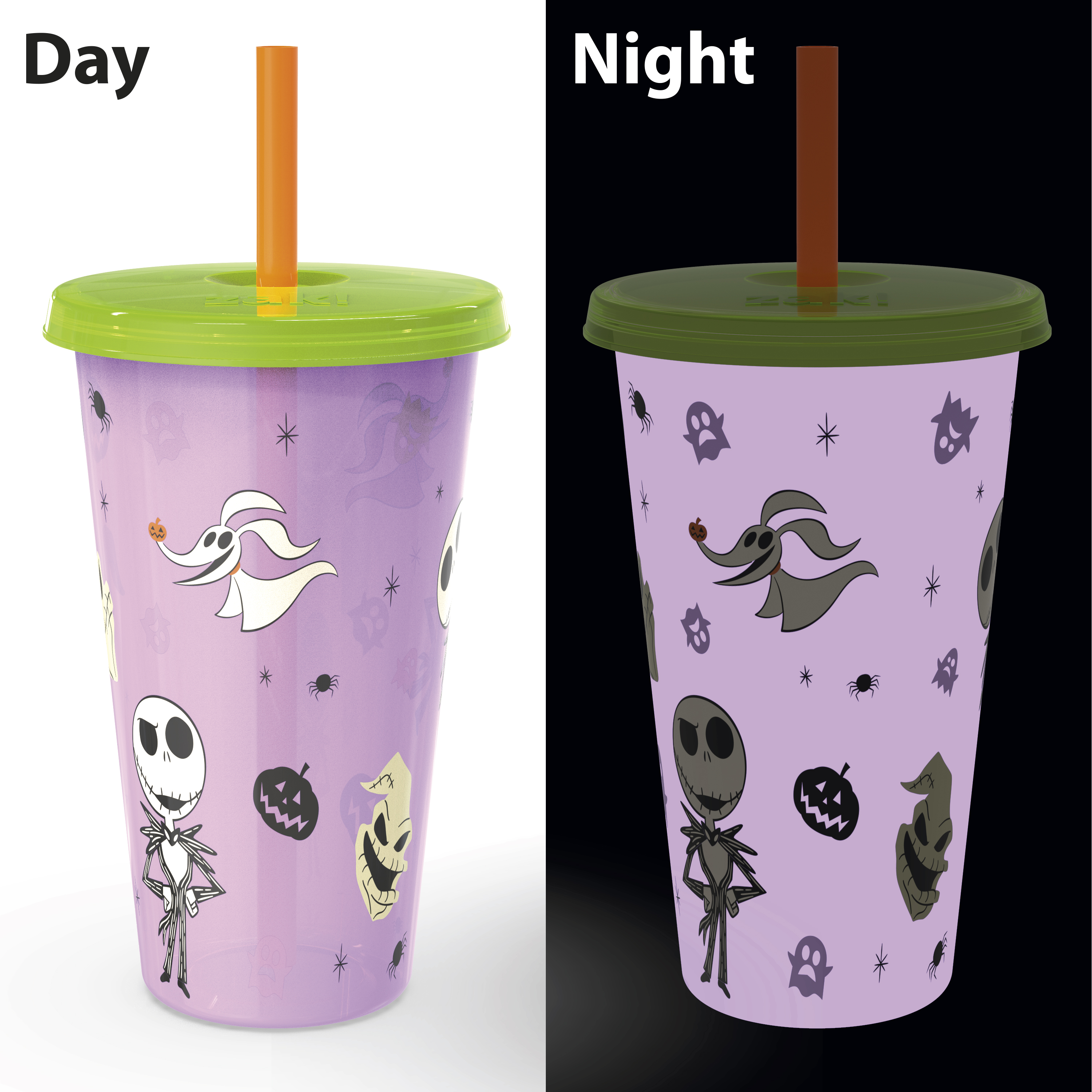 The Nightmare Before Christmas 24 ounce Reusable Plastic Kids Tumbler, Jack Skellington, Oogie Boogie & Zero, 4-piece set slideshow image 8