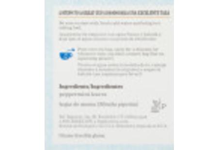 Ingredient Panel of Peppermint Herbal Tea box bilngual packaging