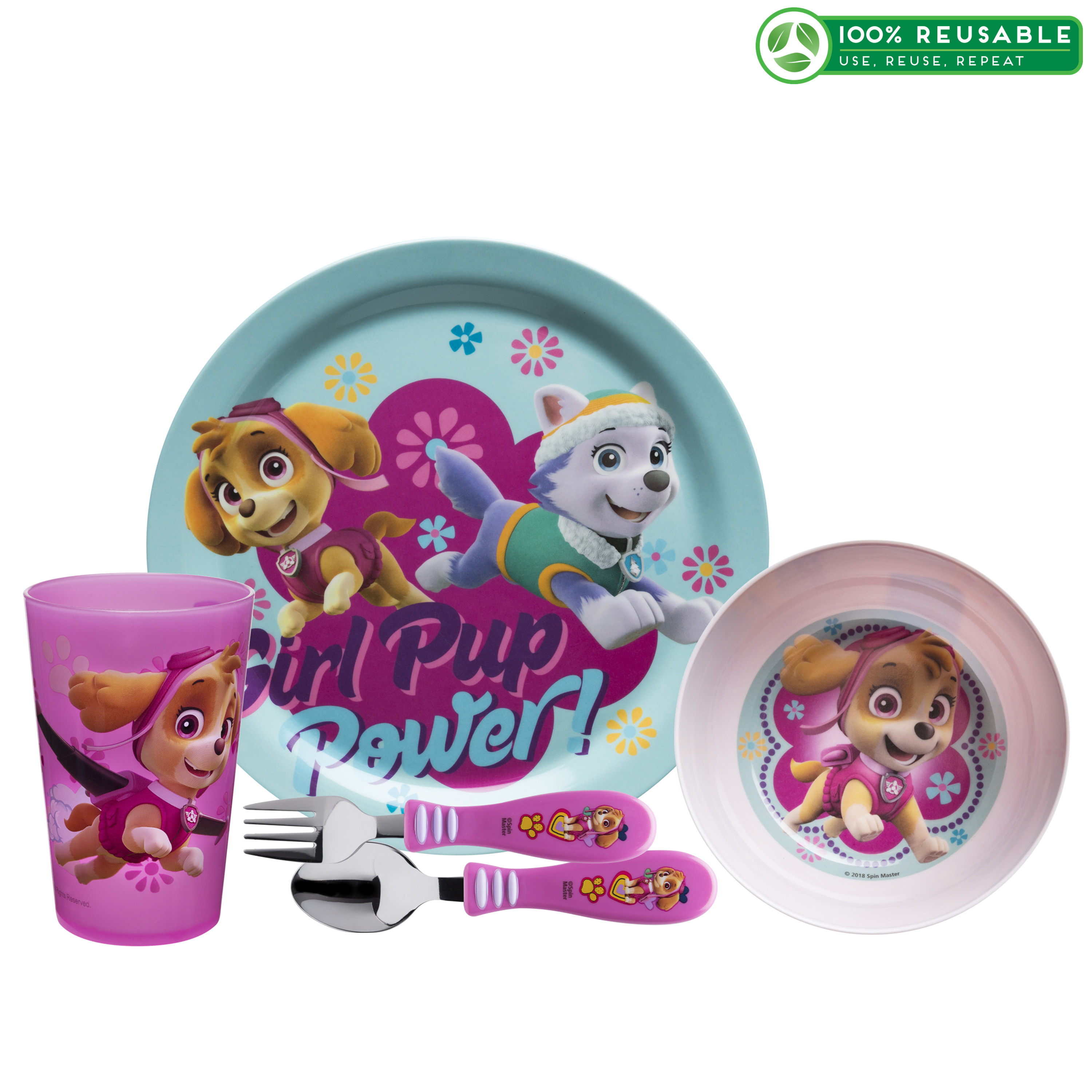 Paw Patrol Dinnerware Set, Skye & Everest, 5-piece set slideshow image 1
