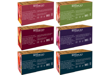 Back panels with ingredients of Assorted Bigelow Botanical Cold Infusion 6 boxes total of 108 teabags