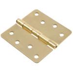 """Hardware Essentials 1/4"""" Round Corner Satin Brass Door Hinges (4"""")"""