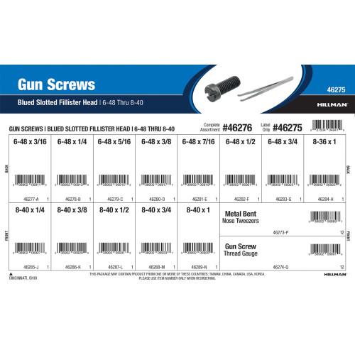 Blued Slotted Fillister-head Gun Screws Assortment (#6-48 thru #8-40)