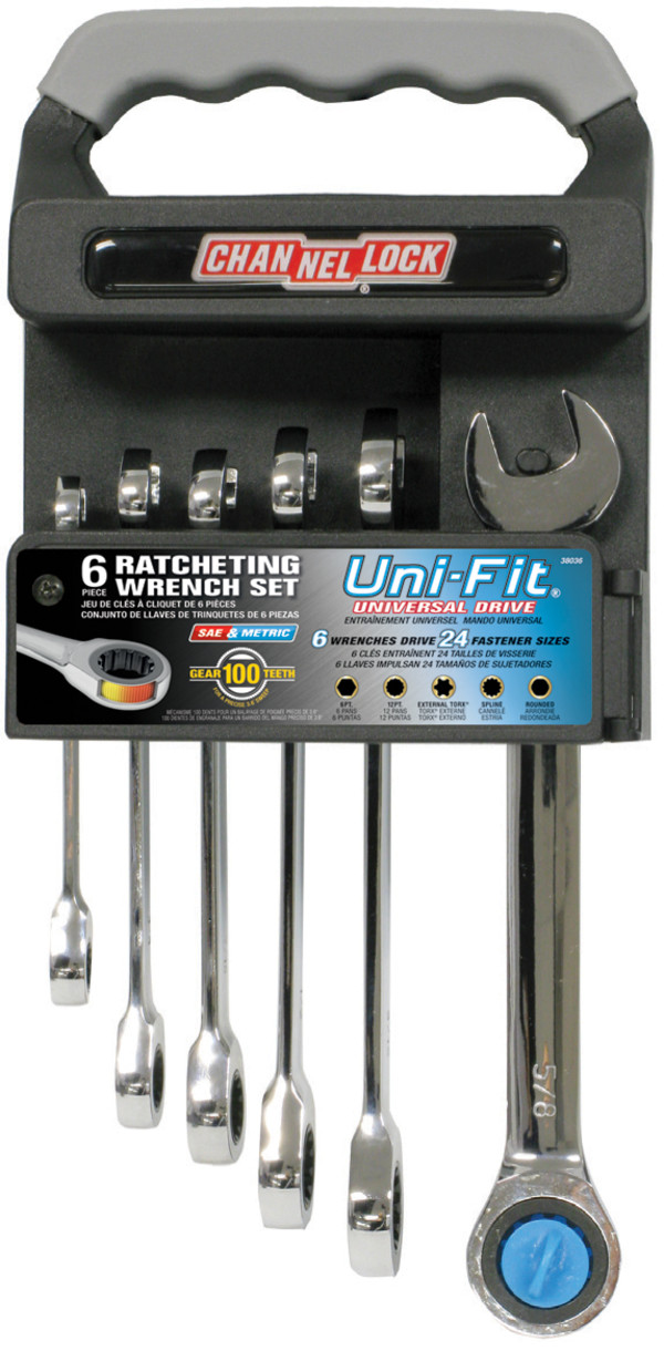 38036 6pc Uni-Fit Ratcheting Combination Wrench Set