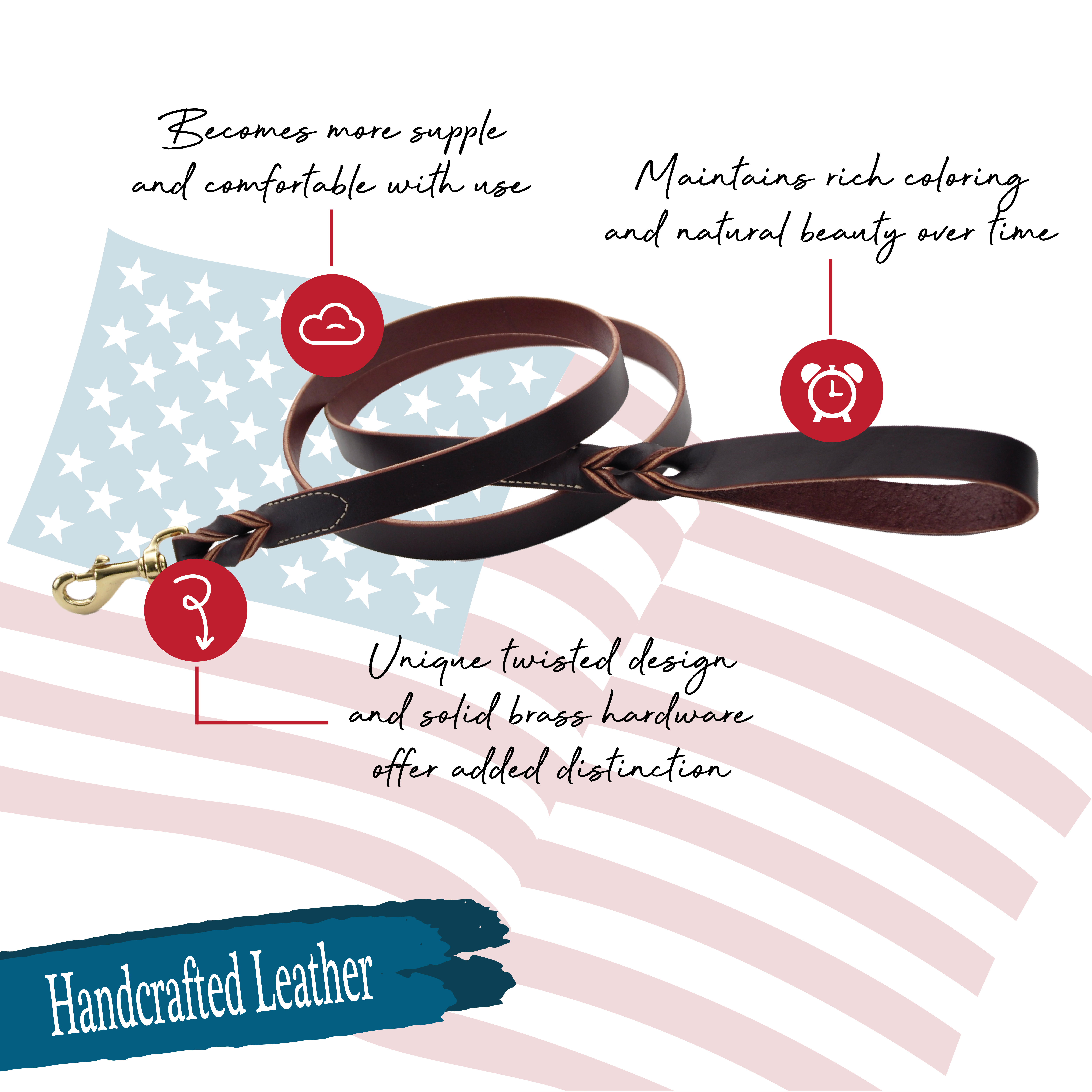 Circle T® Latigo Leather Twist Dog  Leash with Solid Brass Hardware