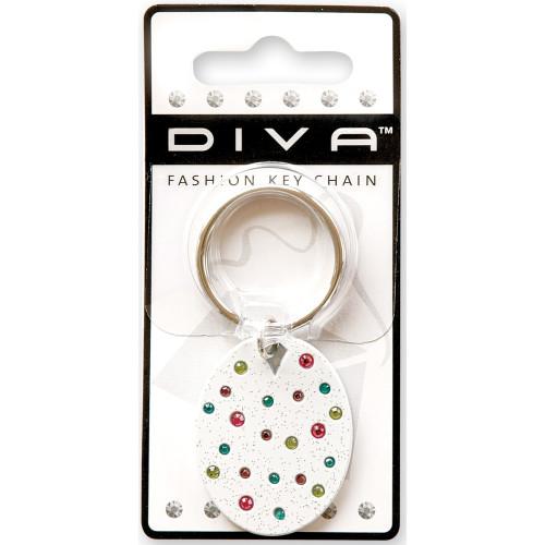 Confetti White Key Chain