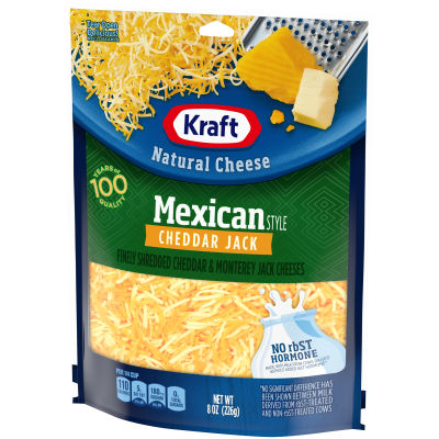 Kraft Mexican Style Cheddar Jack Finely Shredded Natural Cheese 8 oz Pouch