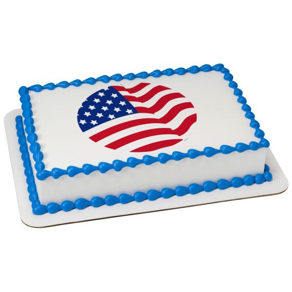 American Flag Round PhotoCake® Edible Image®