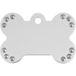 Chrome with Black Crystals Large Bone Quick-Tag