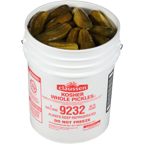 CLAUSSEN Whole Dill Pickles, 5 gal. Pail, 60-70 Count