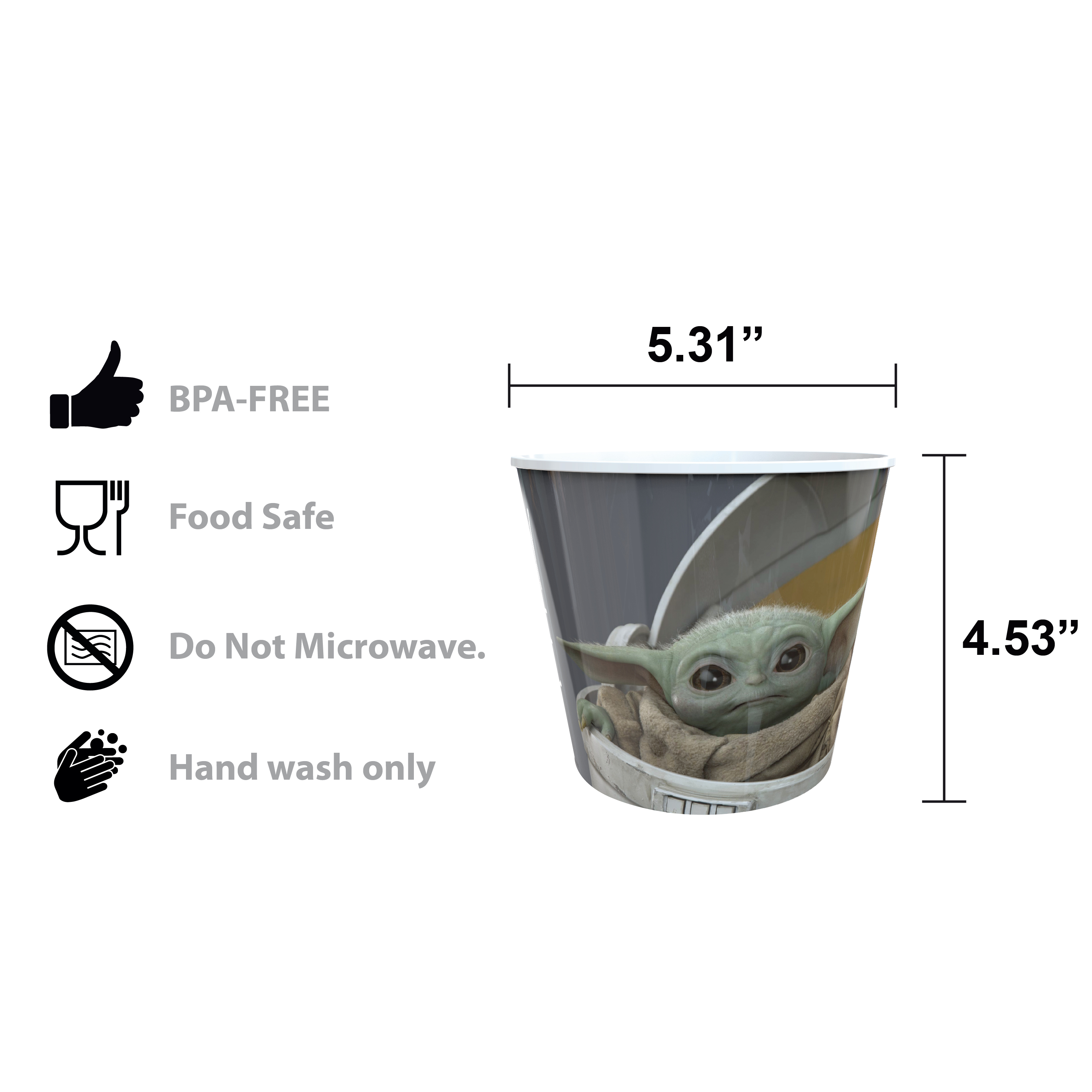 Star Wars: The Mandalorian Plastic Popcorn Container and Bowls, The Child (Baby Yoda), 5-piece set slideshow image 8