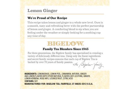 Keurig Bigelow Lemon Ginger Herbal Tea  K-Cups box of 12 - ingredient listing