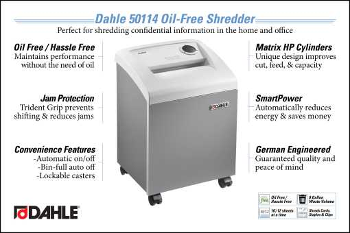 Dahle 50114 Oil Free Small Office Shredder InfoGraphic