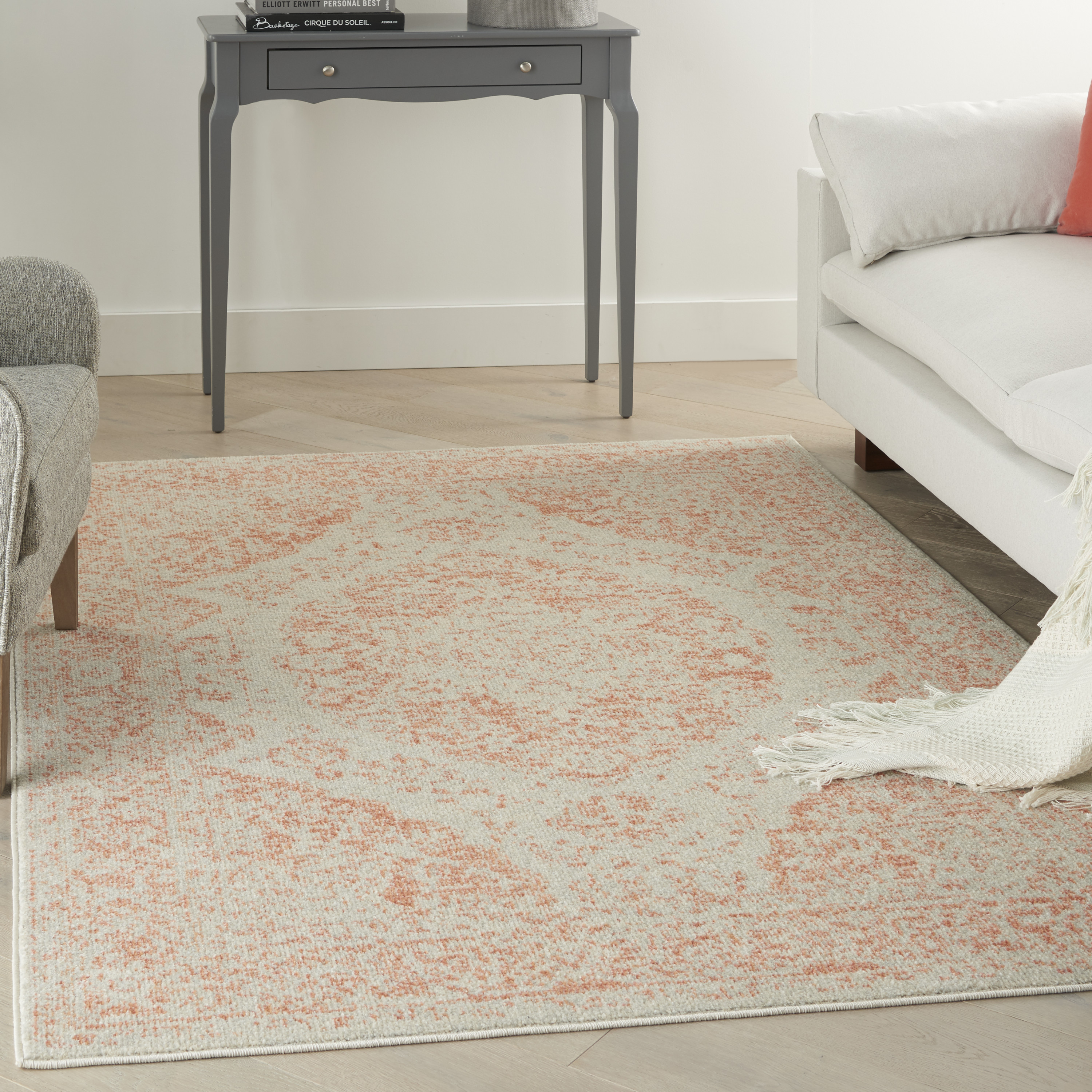 Nourison Tranquil TRA05 Ivory Pink Rug
