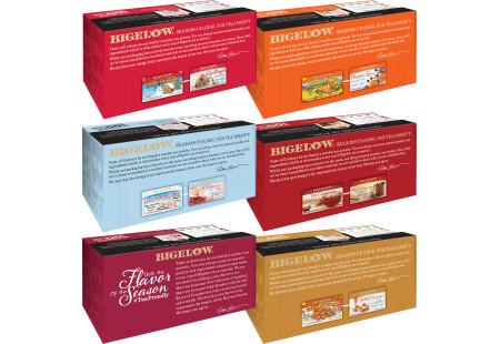 Tops of Six boxes of Bigelow Seasaonal Teas - total of 108 tea bags