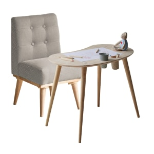 Sweedi - Solid Wood Kids Table with Upholstered Chair Set