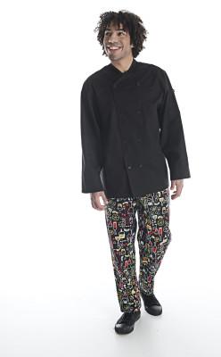 Unisex Classic Long Sleeve Crossover Collar Chef Coat-Chefwear