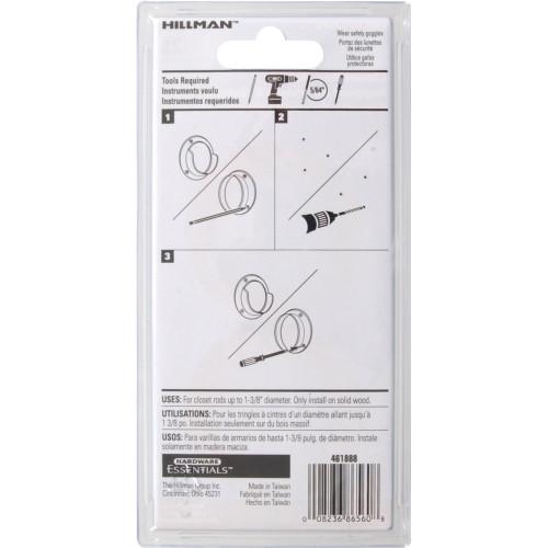Hillman Metal Pole Socket Set - Brass Plated- 1-3/8