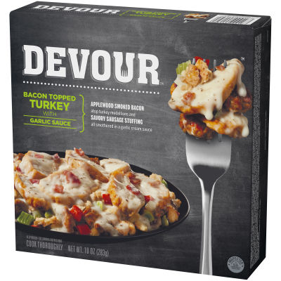 DEVOUR Bacon Topped Turkey with Garlic Sauce Frozen Meal, 10 oz Box