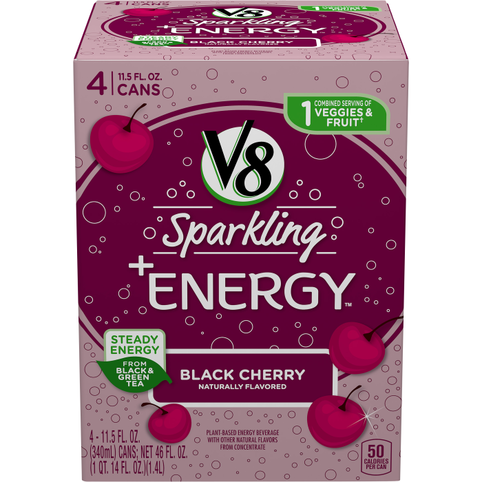 V8 Sparkling +Energy™, Black Cherry, 11.5 Ounce Can (Pack of 4)