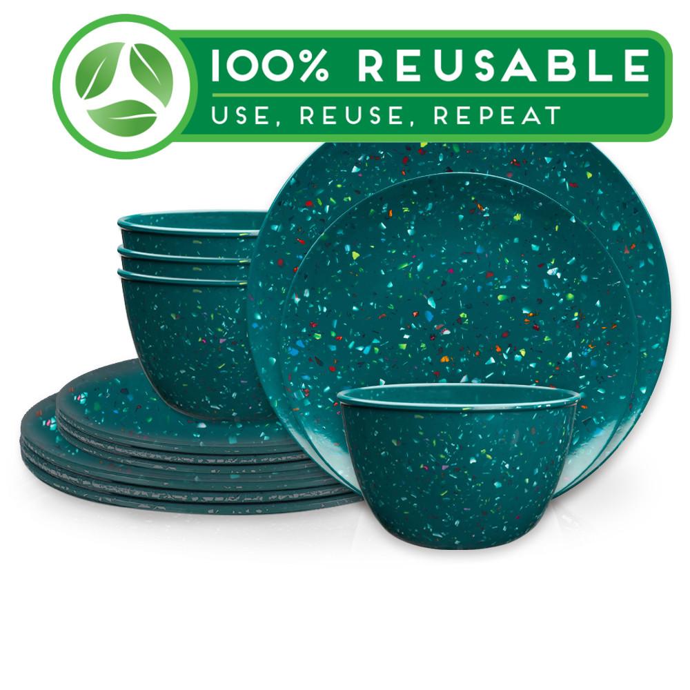 Confetti Dinnerware Set, Peacock, 12-piece set slideshow image 1