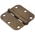 "Hardware Essentials 5/8"" Antique Brass Round Corner Residential Door Hinges with Removable Pin"