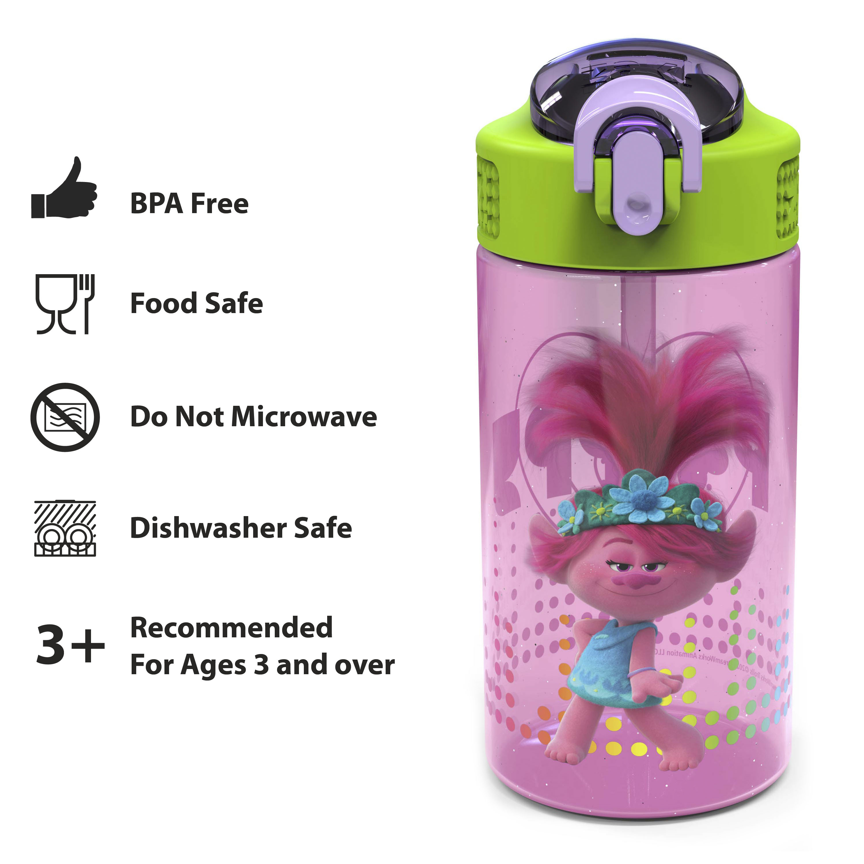 Trolls 2 Movie 16 ounce Reusable Plastic Water Bottle with Straw, Poppy, 2-piece set slideshow image 5