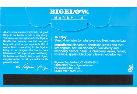 Back of Bigelow Benefits Cinnamon and Blackberry Herbal Tea box