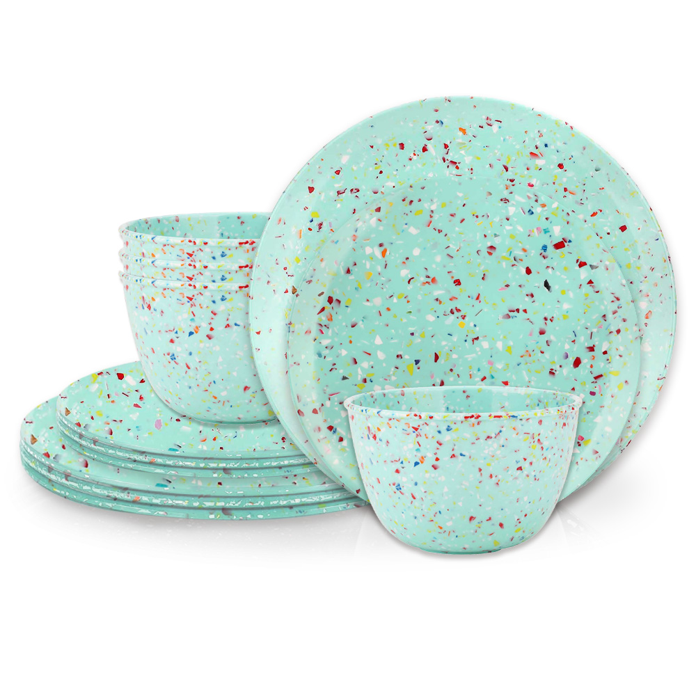 Confetti Dinnerware Set, Mint, 12-piece set slideshow image 2